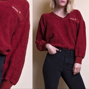 Vintage 80s maroon terry cloth v neck sweater